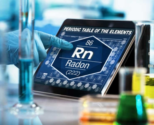 Radon Testing periodic table showing radon symbol