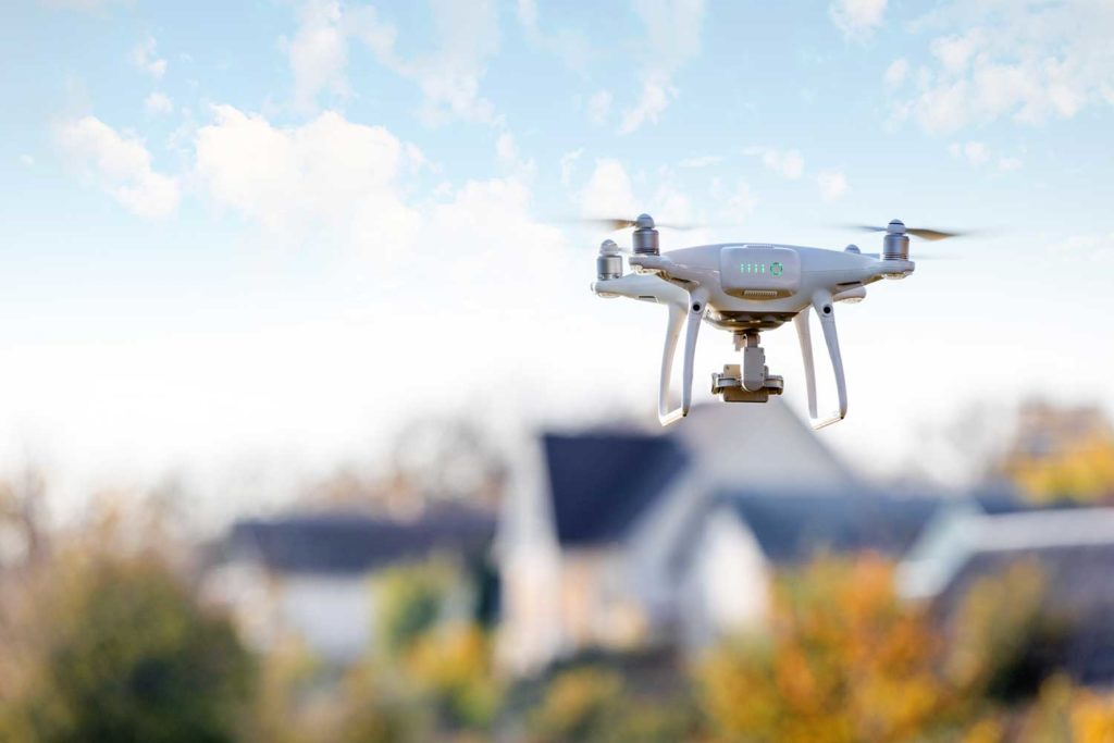 Drone for home inspection over house