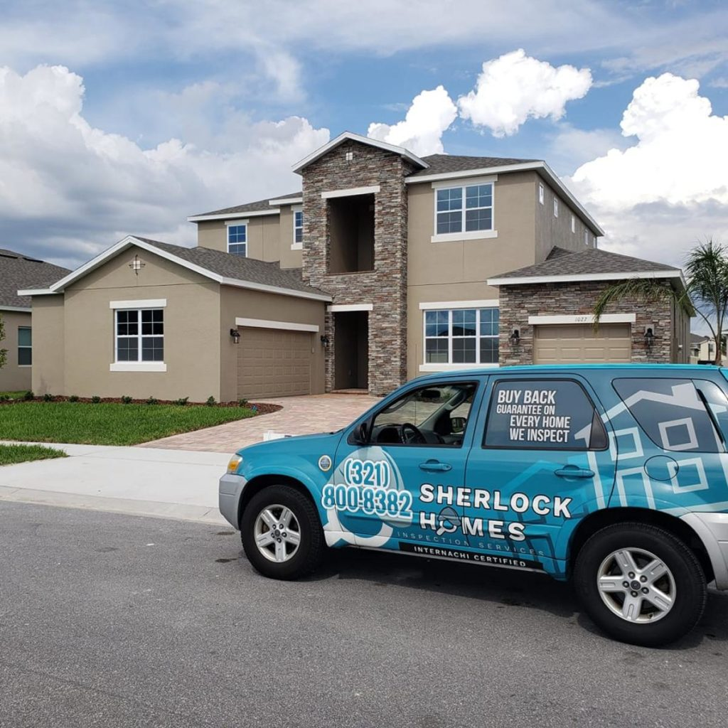 Sherlock Home Inspection vehicle in front of house to inspect